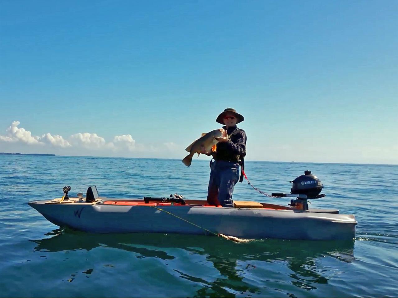 Fishing from a Wavewalk S4 motor kayak boat